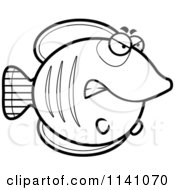 Cartoon Clipart Of A Black And White Angry Butterflyfish Vector Outlined Coloring Page