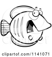 Cartoon Clipart Of A Black And White Scared Butterflyfish Vector Outlined Coloring Page