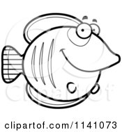 Cartoon Clipart Of A Black And White Happy Smiling Butterflyfish Vector Outlined Coloring Page