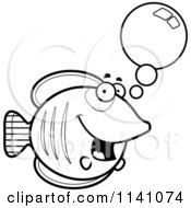 Cartoon Clipart Of A Black And White Talking Butterflyfish Vector Outlined Coloring Page
