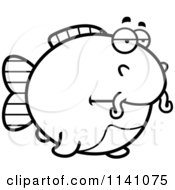 Cartoon Clipart Of A Black And White Bored Chubby Catfish Vector Outlined Coloring Page