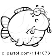 Cartoon Clipart Of A Black And White Crying Chubby Catfish Vector Outlined Coloring Page
