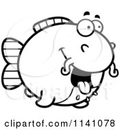 Cartoon Clipart Of A Black And White Hungry Chubby Catfish Vector Outlined Coloring Page