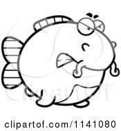 Cartoon Clipart Of A Black And White Angry Chubby Catfish Vector Outlined Coloring Page