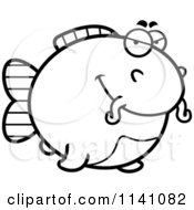 Cartoon Clipart Of A Black And White Sly Chubby Catfish Vector Outlined Coloring Page