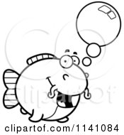 Cartoon Clipart Of A Black And White Talking Chubby Catfish Vector Outlined Coloring Page
