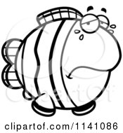 Cartoon Clipart Of A Black And White Crying Clownfish Vector Outlined Coloring Page by Cory Thoman