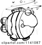 Cartoon Clipart Of A Black And White Drunk Clownfish Vector Outlined Coloring Page by Cory Thoman