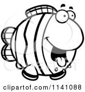 Cartoon Clipart Of A Black And White Hungry Clownfish Vector Outlined Coloring Page by Cory Thoman