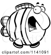 Cartoon Clipart Of A Black And White Scared Clownfish Vector Outlined Coloring Page by Cory Thoman
