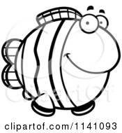 Cartoon Clipart Of A Black And White Happy Clownfish Vector Outlined Coloring Page by Cory Thoman