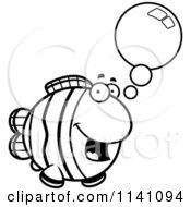 Cartoon Clipart Of A Black And White Talking Clownfish Vector Outlined Coloring Page by Cory Thoman