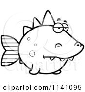 Cartoon Clipart Of A Black And White Bored Dino Fish Vector Outlined Coloring Page by Cory Thoman