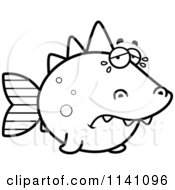 Cartoon Clipart Of A Black And White Crying Dino Fish Vector Outlined Coloring Page by Cory Thoman