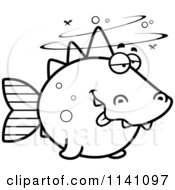 Cartoon Clipart Of A Black And White Drunk Dino Fish Vector Outlined Coloring Page by Cory Thoman