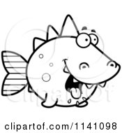Cartoon Clipart Of A Black And White Hungry Dino Fish Vector Outlined Coloring Page by Cory Thoman