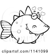 Cartoon Clipart Of A Black And White Amorous Dino Fish Vector Outlined Coloring Page by Cory Thoman