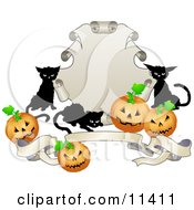 Three Black Cats And Halloween Pumpkins Around A Shield And Banner Clipart Illustration by AtStockIllustration