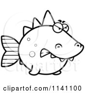Cartoon Clipart Of A Black And White Angry Dino Fish Vector Outlined Coloring Page by Cory Thoman