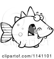 Cartoon Clipart Of A Black And White Scared Dino Fish Vector Outlined Coloring Page by Cory Thoman