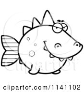Cartoon Clipart Of A Black And White Sly Dino Fish Vector Outlined Coloring Page by Cory Thoman