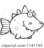 Cartoon Clipart Of A Black And White Dino Fish Vector Outlined Coloring Page by Cory Thoman