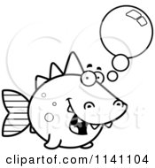 Cartoon Clipart Of A Black And White Talking Dino Fish Vector Outlined Coloring Page by Cory Thoman