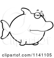 Cartoon Clipart Of A Black And White Bored Dolphin Vector Outlined Coloring Page by Cory Thoman