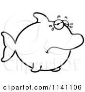 Cartoon Clipart Of A Black And White Sad Crying Dolphin Vector Outlined Coloring Page by Cory Thoman
