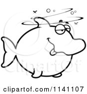 Cartoon Clipart Of A Black And White Drunk Dolphin Vector Outlined Coloring Page by Cory Thoman