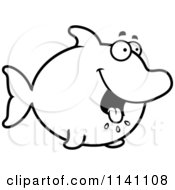 Cartoon Clipart Of A Black And White Hungry Dolphin Vector Outlined Coloring Page by Cory Thoman