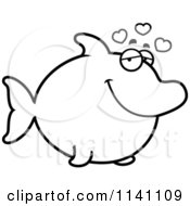 Cartoon Clipart Of A Black And White Amorous Dolphin In Love Vector Outlined Coloring Page by Cory Thoman