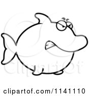 Cartoon Clipart Of A Black And White Angry Dolphin Vector Outlined Coloring Page