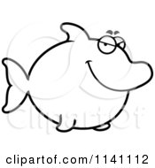 Cartoon Clipart Of A Black And White Sly Dolphin Vector Outlined Coloring Page by Cory Thoman