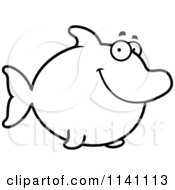 Cartoon Clipart Of A Black And White Happy Dolphin Vector Outlined Coloring Page by Cory Thoman