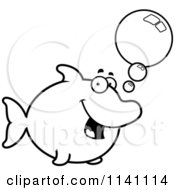 Cartoon Clipart Of A Black And White Talking Dolphin Vector Outlined Coloring Page by Cory Thoman