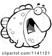 Cartoon Clipart Of A Black And White Scared Fish Vector Outlined Coloring Page by Cory Thoman