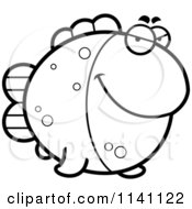 Cartoon Clipart Of A Black And White Sly Fish Vector Outlined Coloring Page by Cory Thoman