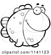 Cartoon Clipart Of A Black And White Fish Vector Outlined Coloring Page by Cory Thoman