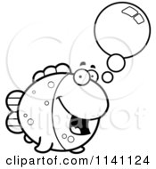 Cartoon Clipart Of A Black And White Talking Fish Vector Outlined Coloring Page