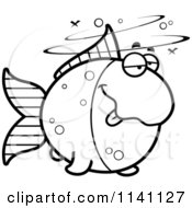 Cartoon Clipart Of A Black And White Drunk Goldfish Vector Outlined Coloring Page by Cory Thoman