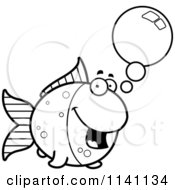 Cartoon Clipart Of A Black And White Talking Goldfish Vector Outlined Coloring Page by Cory Thoman