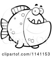 Cartoon Clipart Of A Black And White Happy Piranha Fish Vector Outlined Coloring Page