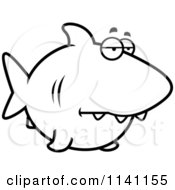 Cartoon Clipart Of A Black And White Sad Shark Vector Outlined Coloring Page by Cory Thoman