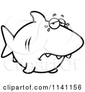 Cartoon Clipart Of A Black And White Crying Shark Vector Outlined Coloring Page by Cory Thoman