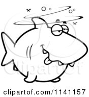 Cartoon Clipart Of A Black And White Drunk Shark Vector Outlined Coloring Page by Cory Thoman