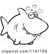 Cartoon Clipart Of A Black And White Shark In Love Vector Outlined Coloring Page by Cory Thoman