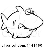 Cartoon Clipart Of A Black And White Angry Shark Vector Outlined Coloring Page by Cory Thoman