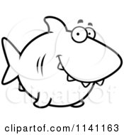 Cartoon Clipart Of A Black And White Happy Shark Vector Outlined Coloring Page by Cory Thoman