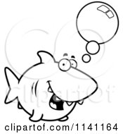 Cartoon Clipart Of A Black And White Talking Shark Vector Outlined Coloring Page by Cory Thoman